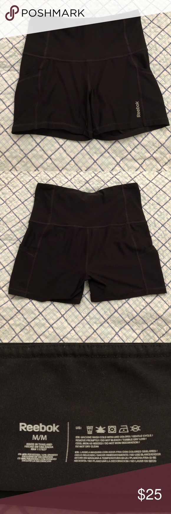 Reebok Medium Black Spanx Black Redbox spanx, size medium with a high waist and pockets on both sides. The pockets are deep and securely hold my phone with a case on it. Never had much of an issue with them riding up while I workout. Great condition! Reebok Shorts