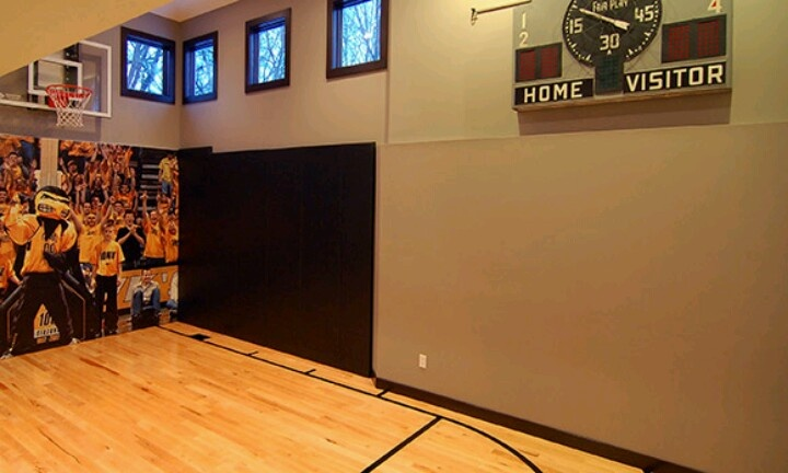 1000 images about basketball court home gym on pinterest for Custom indoor basketball court