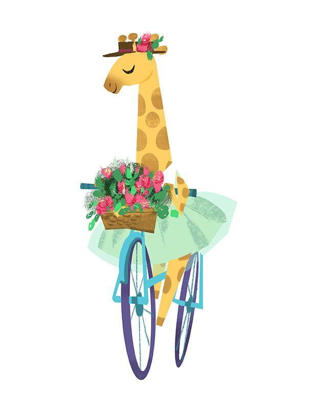 Cute giraffe on a bike illustration by Victoria Ying