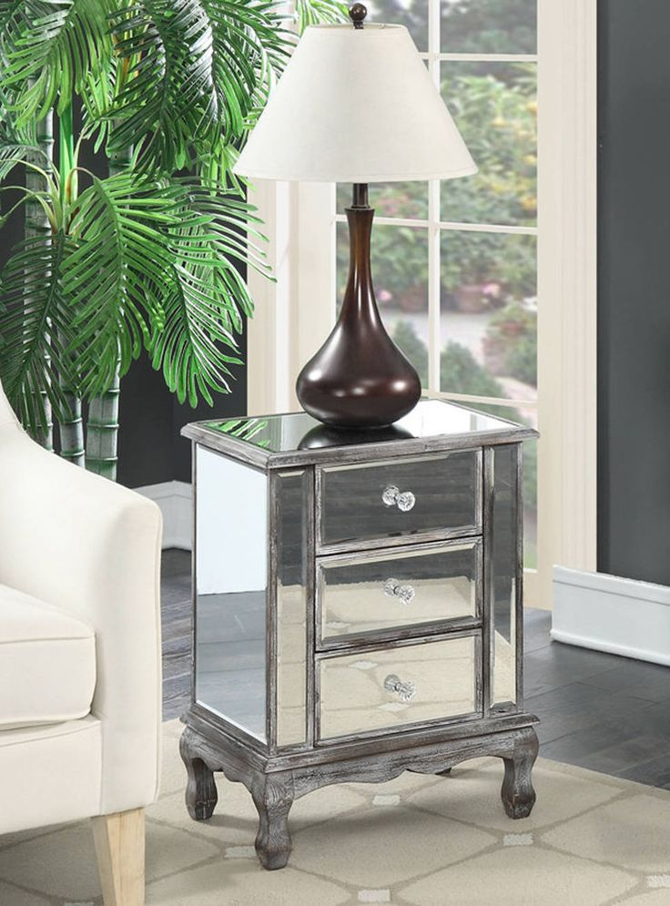 Mirrored 3 Drawer End Table Night Stand Wood Side Accent Furniture Gray Finish #Mirrored3DrawerEndTable
