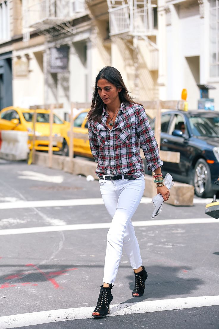 Checks look chic paired with ice white jeans.