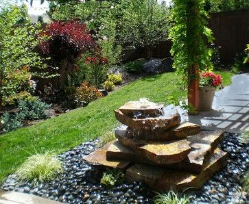 Stacked Rock Fountain eclectic landscape