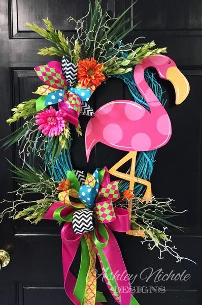 Painted Flamingo Door Hanger