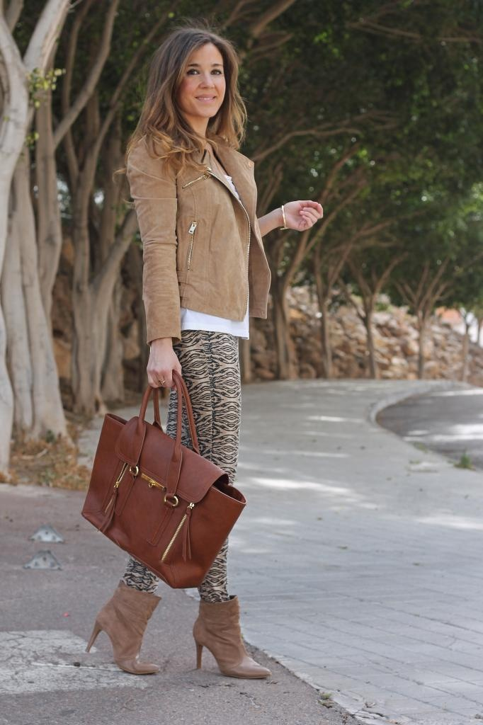 Print skinnies, white tank, camel suede booties and moto jacket, whiskey tote