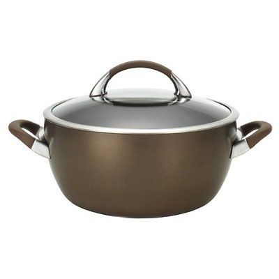 Chocolate Hard Anodized Nonstick 5.5-Qt. Covered Casserole New Free Shipping
