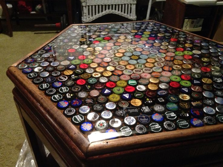 Bottle Cap In Clear Epoxy Resin Hexagonal End Table
