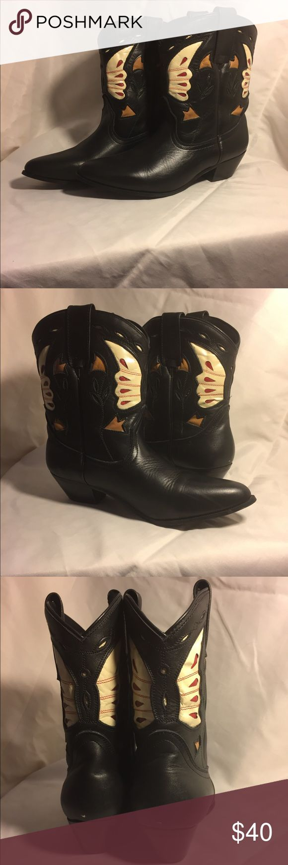 Oak Tree Farms Cowgirl Boots Gorgeous Butterfly Cutouts Cowgirl ankle Boots from Oak Tree Farms. It says size 8 on boots but would fit a size 7-7.5 better. Perfect condition, only worn a few times. Back of heels have minimal white marks, the leaves lost a bit of colors. see all pictures. Genuine leather. oak tree farms Shoes Ankle Boots & Booties