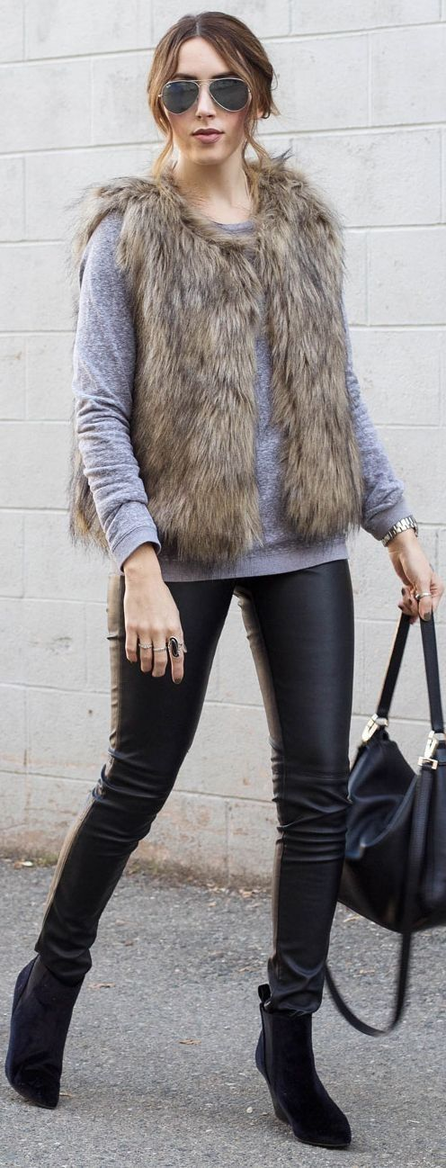Elements Of Ellis Faux Fur Vest Fall Street Style Inspo #elements