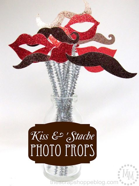 The Scrap Shoppe: Kiss & 'Stache Photo Props {Lifestyle Crafts}