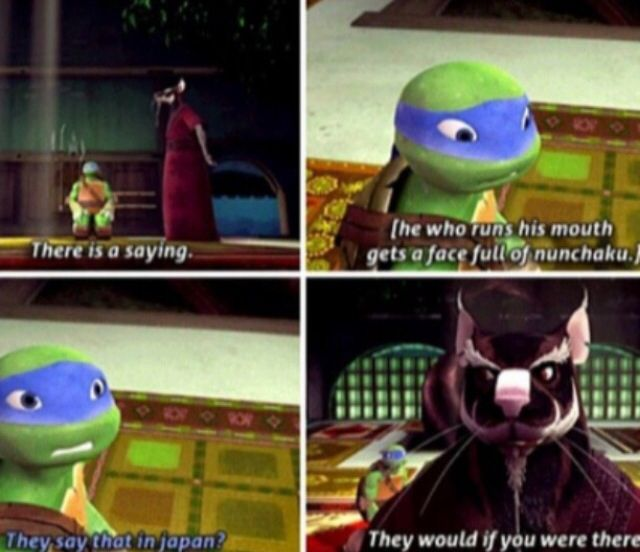 """""""They say that in Japan?"""" Splinter used backlash. """"They would if you were there."""" Achievement unlocked: Now that's a burn, son."""