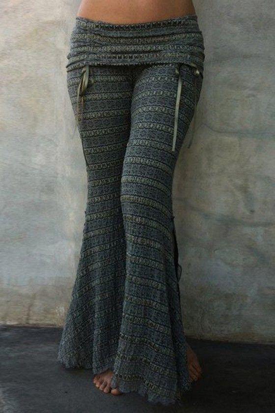 Grey Pattern Elastic Waist Long Pants – Pants
