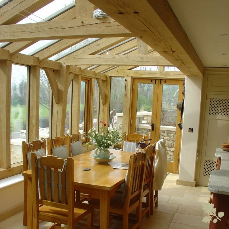 A Beautiful Oak Framed Garden Room Creates Lovely Dining Area With Amazing Views Out