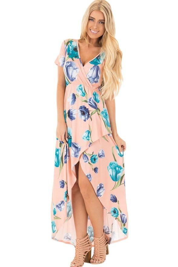 Robe Fleurie Longue Boheme Rose Petales de Terre Imprime Pas Cher www.modebuy.com @Modebuy #Modebuy #Rose