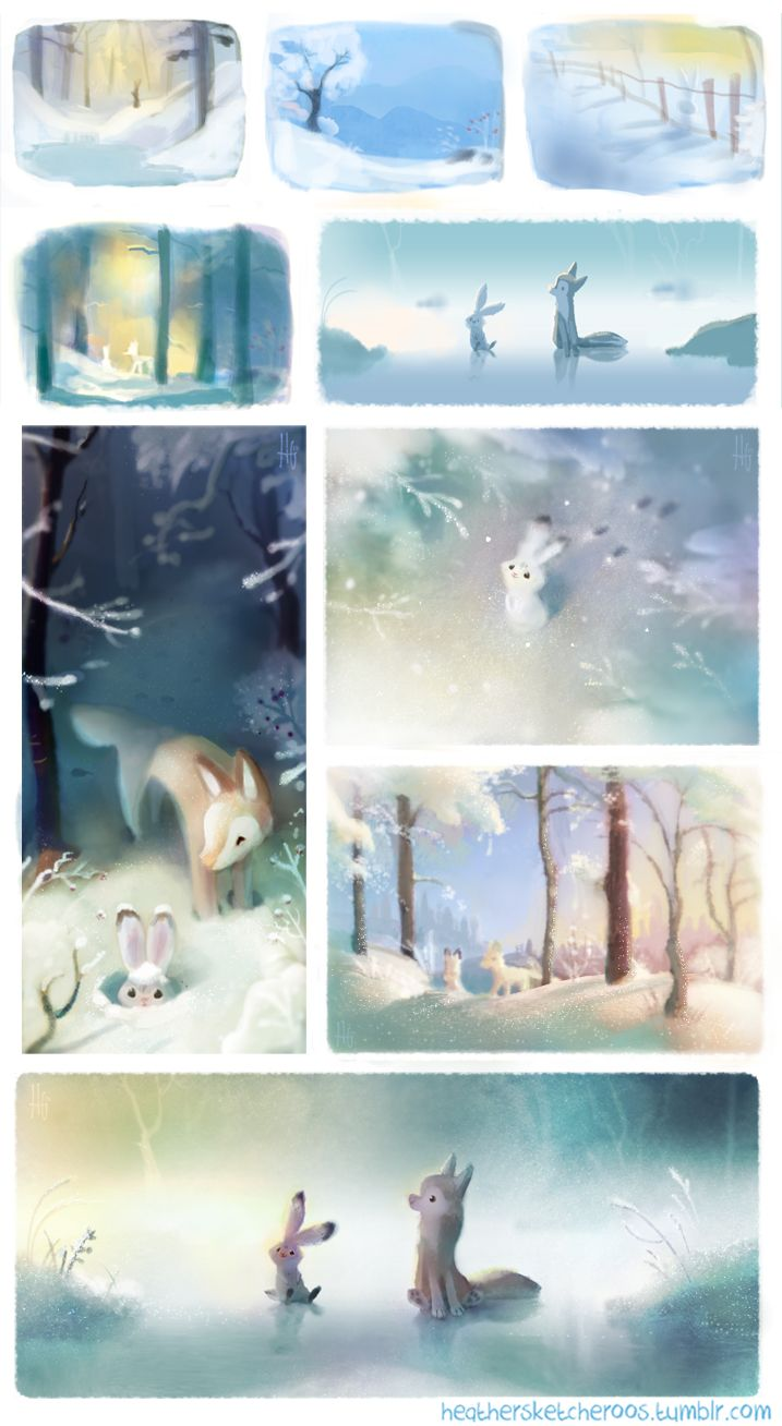 Into December now so I wanted to share some winter thumbnails from the project Denae and I have been working on!