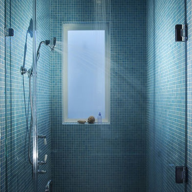 Tiled shower with window