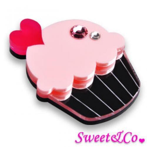 Swarovski Crystal Silver Pink Cupcake Pin Silver - One Size