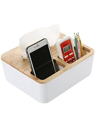 Fealkira Multi-function Oak Tissue Box Cover, Organizer Storage Box for Pen/Pencil Cell Phone,Remote Control Holder for livingroom Bathroom Toilet Kitchen Office Car (Multi function 1) ❤ Fealkira