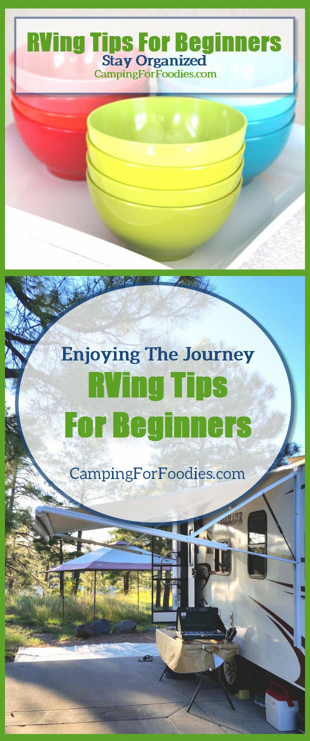 RVing Tips For Beginners. RVs come in all sizes…from cute little teardrop trailers to diesel pusher motorhomes that are bigger than the typical New York City apartment! You might have the urge to over-pack your RV just because you have new storage spaces to fill. DON'T DO IT! Resist the temptation and only pack what you need and keep it organized because clutter builds fast in small spaces and you can avoid that problem with proper planning and organization tools.