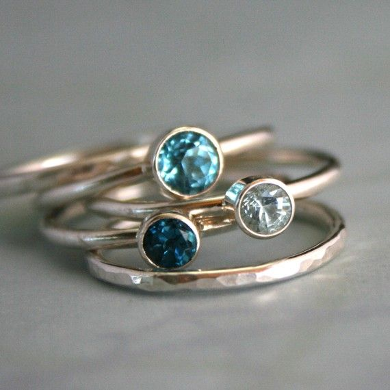 Stacking Rings Topaz & Aquamarine Sterling Silver Ocean Blue StackableStackable Rings, Stack Rings, Statement Rings, Rings Topaz, Stacked Rings, Aquamarines Sterling, Sterling Silver, Ocean Blue, Stacking Rings