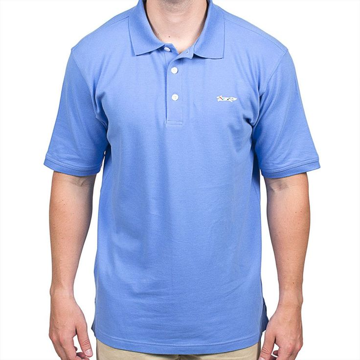 Longshanks Embroidered Patch Polo in River Blue by Country Club Prep