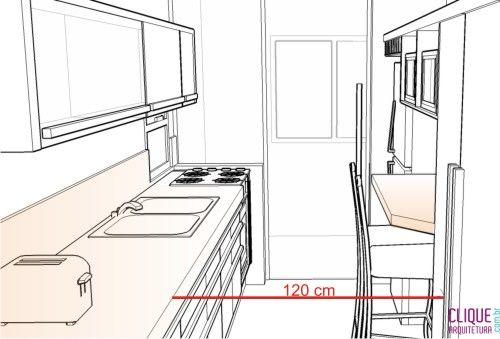 Cozinha: Ergonomia Circulação - Clique Arquitetura