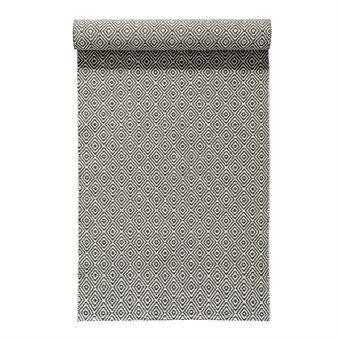 Le tapis Salt charbon (gris) signé Nordic Nest associe le motif classique de l'œil d'oie avec une matière nouvelle et moderne, qui lui donne une nouvelle vie.  C'est un merveilleux tapis plastique fabriqué dans une petite manufacture de tissage en Suède qui tisse des tapis plastiques depuis 1956.  Il est très résistant et facile à nettoyer.  Parfait pour une cuisine à la campagne, le vestibule ou la terrasse !
