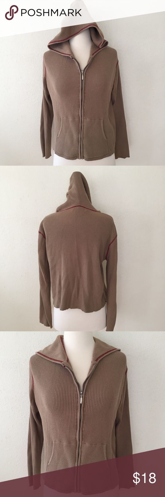 Gloria Vanderbilt cotton hoodie Like new Gloria Vanderbilt hooded jacket in camel colored ribbed cotton with red trim. Sweet and cozy jacket with 2 front pockets and a full silver toned zipper. 100% cotton. Size L but runs small. Gloria Vanderbilt Tops Sweatshirts & Hoodies