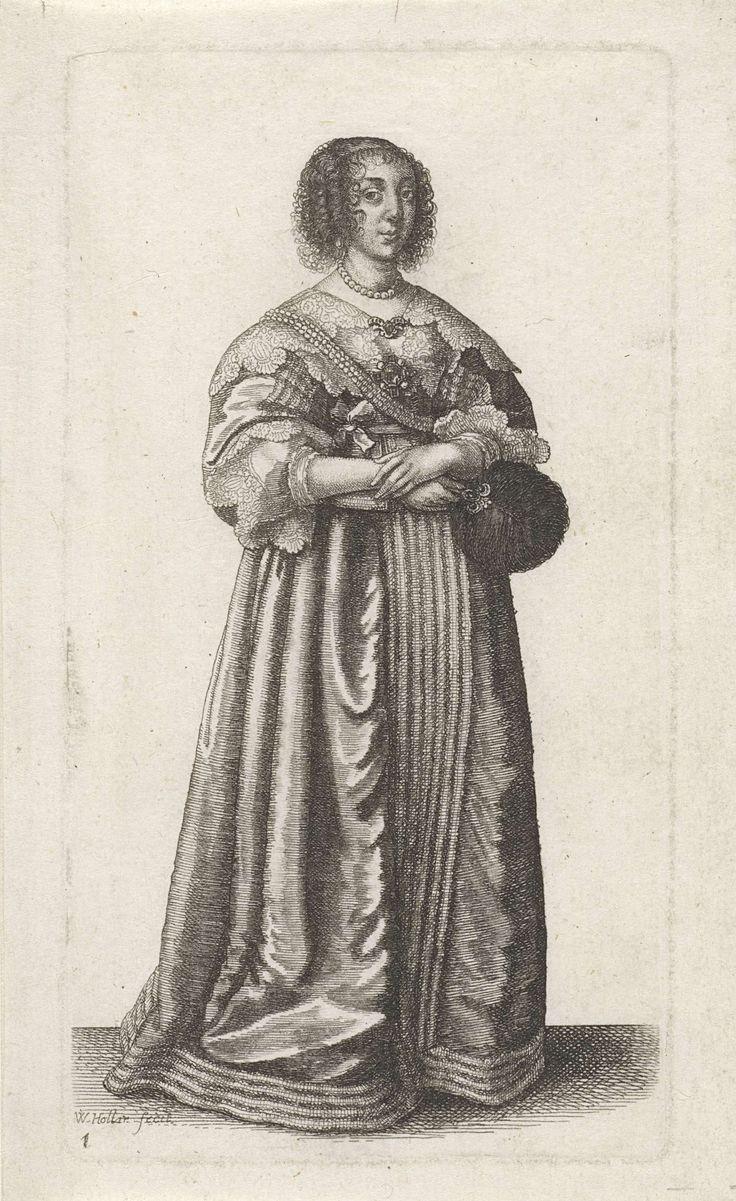 Engelse vrouw van stand met veren stokwaaier, Wenceslaus Hollar, 1638 - 1640