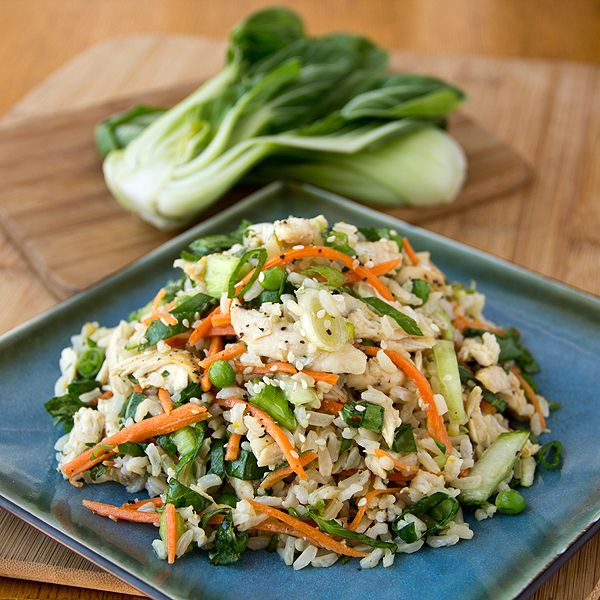 Asian-Style Brown Rice Salad in Orange Sesame-Soy Dressing with Baby Bok Choy Greens, Carrots, Petite Peas and Shredded Chicken