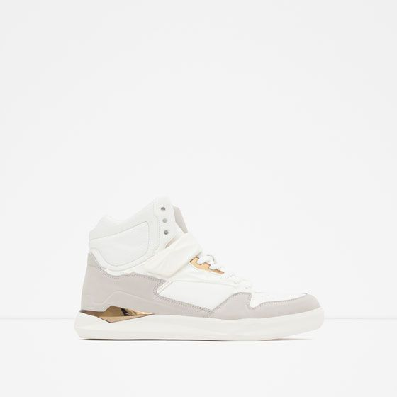 Image 1 of HIGH-TOP SNEAKERS WITH GOLD-TONED DETAILS from Zara