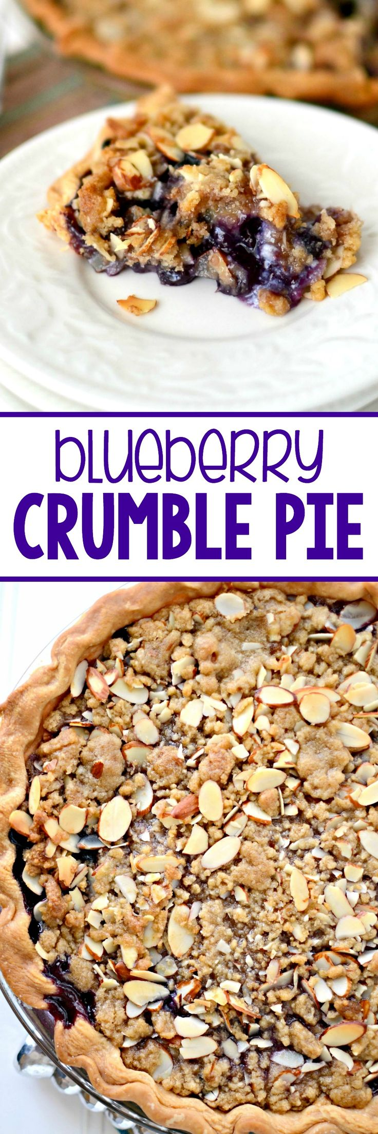 Blueberry Crumble Pie - one of the best pies ever! A fresh blueberry filling topped with a almond crumble topping. This is the perfect berry pie recipe.