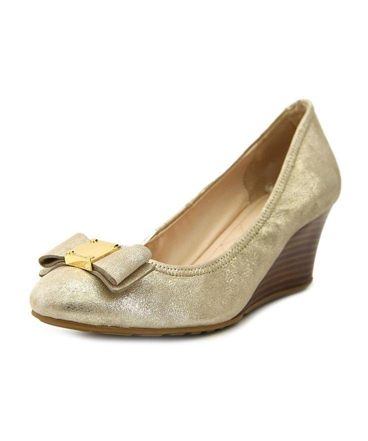 COLE HAAN Cole Haan Tali Grand Women  Open Toe Leather Gold Wedge Heel. #colehaan #shoes #