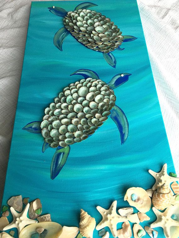 Turtle canvas with shell detail. Turtle decor. Turtle art.
