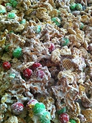 Christmas White Trash- for gifts with cute containers. Chex Mix Cereal...gluton free idea.