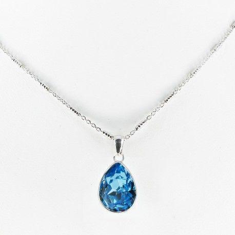 Collar plata de ley con piedra SWAROVSKY agua marina #joyas #brugine #collares
