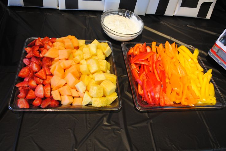 strawberries, cantaloupe & pineapple (change cantaloupe to orange slices) + red, orange and yellow peppers