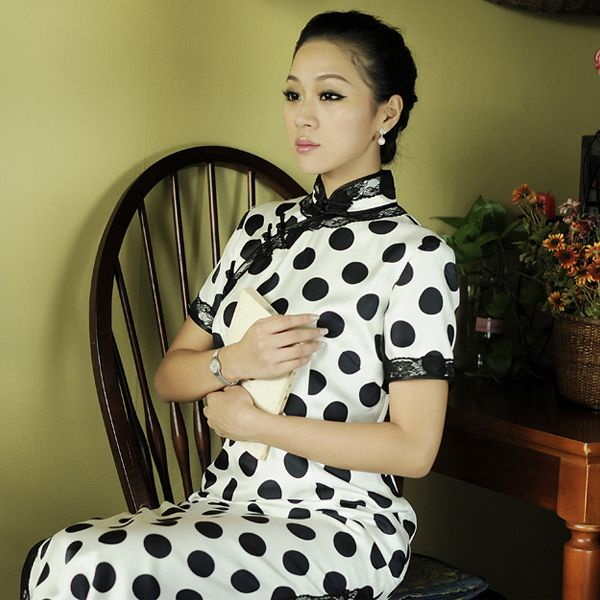 Polka Dots Silk Tailored Qipao Gown White