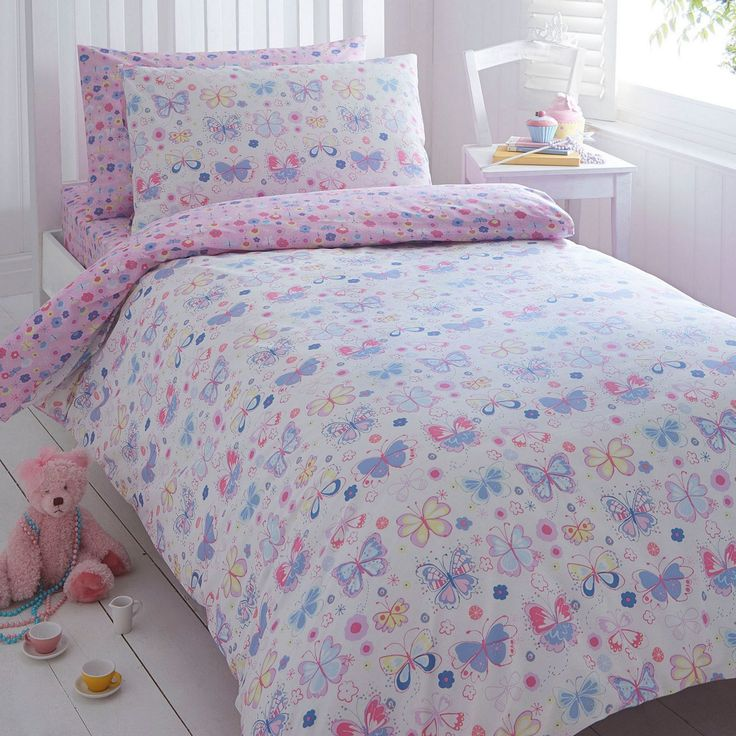 She'll love bedtime with this pretty, multicoloured butterflies bedding set from our fantastic home range by bluezoo. In white, this girl's set has a pink floral printed reverse and looks great teamed with the matching bed linen.