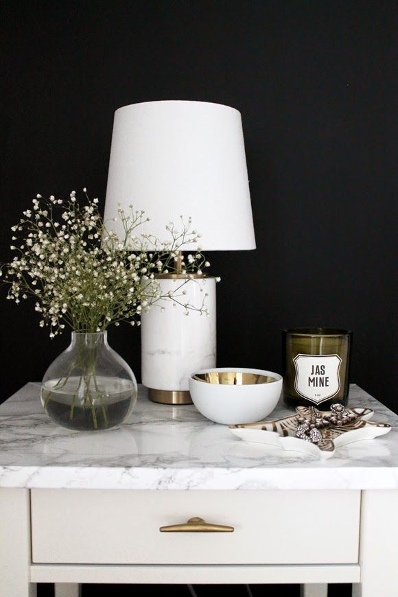The Vault Files: Before & After file: Adding some flair to a regular bedside table #ikeahack #fauxmarble