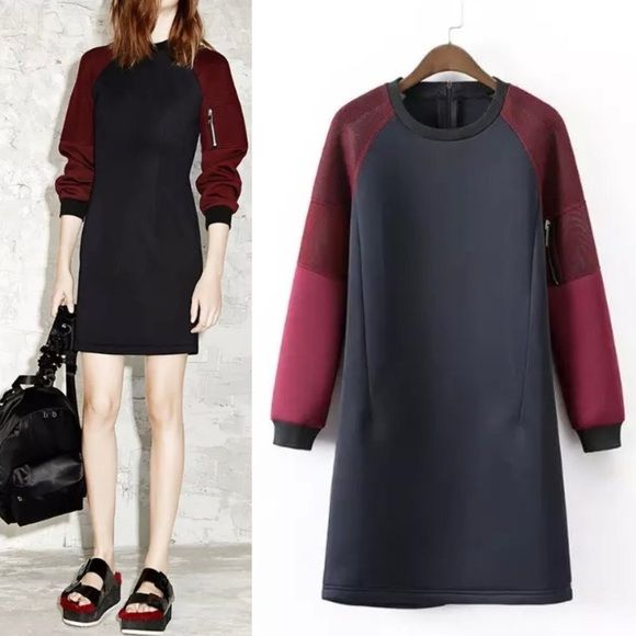 colorblock sporty dress black scuba Similar to Alexander wang style. Scuba material. Brand new without tag. Never worn Alexander Wang Dresses Long Sleeve