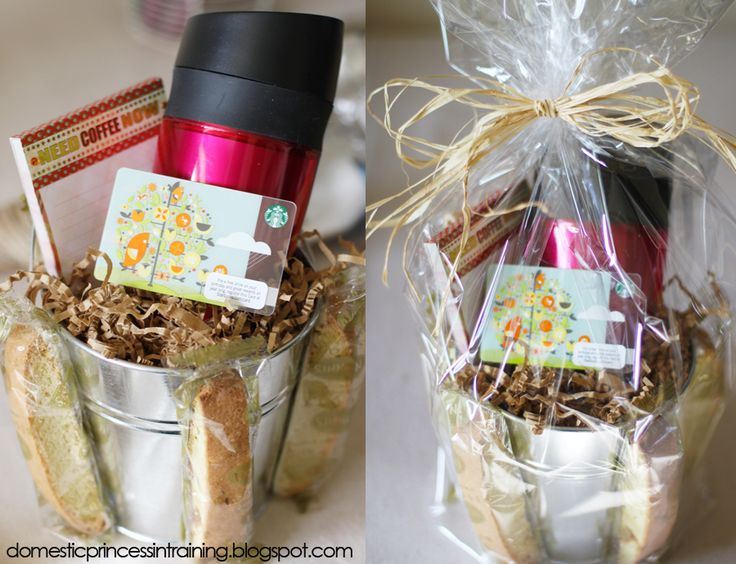Coffee gift basket. Include different types of coffee, sweeteners, gift cards, cups, etc