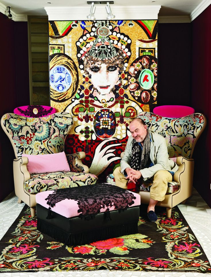 christian lacroix teams up with italian mosaic maker sicis to launch a furniture collection