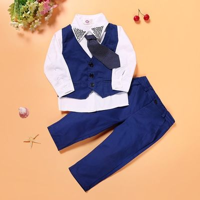 11.65$  Buy here - 3pieces set autumn 2017 children leisure clothing sets kids baby boy suit vest gentleman clothes for weddings formal clothing   #aliexpressideas