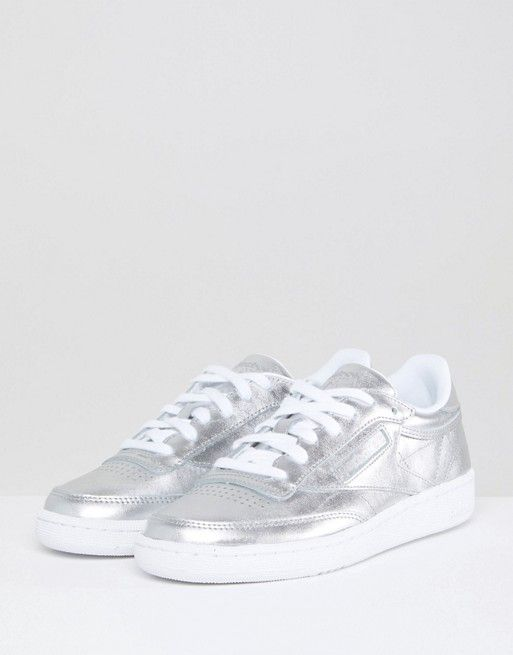 Reebok Classic Club C Trainers In Silver Metallic at asos.com