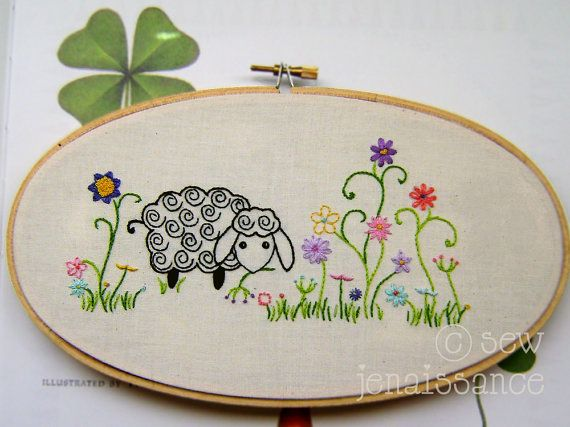 Embroidery Pattern PDF Spiral Sheep and Flowers by sewjenaissance
