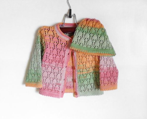 Knitted Baby Cardigan and Hat - Peach, Pink and Green, 6 - 12 months