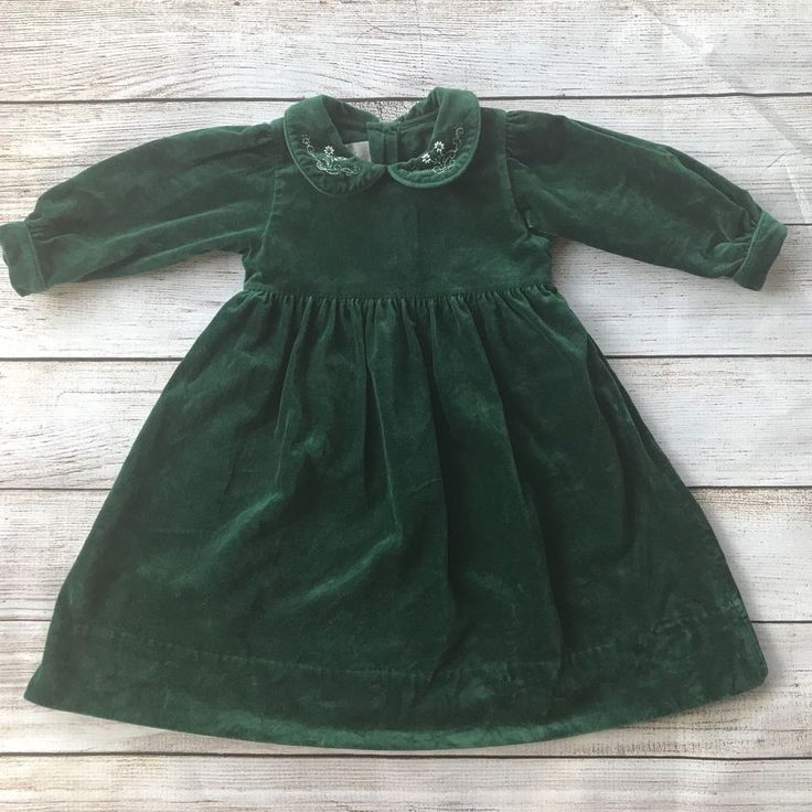 Strasburg Baby Girl Green Velvet Dress 24 Months Long Sleeve Christmas Holiday #Strasburg