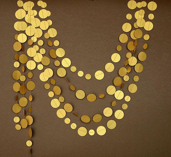 Gold wedding decorations Gold wedding garland Gold garland gold party decor Paper garland Birthday Decor Wedding decorationP-C-0002 by TransparentEsDecor