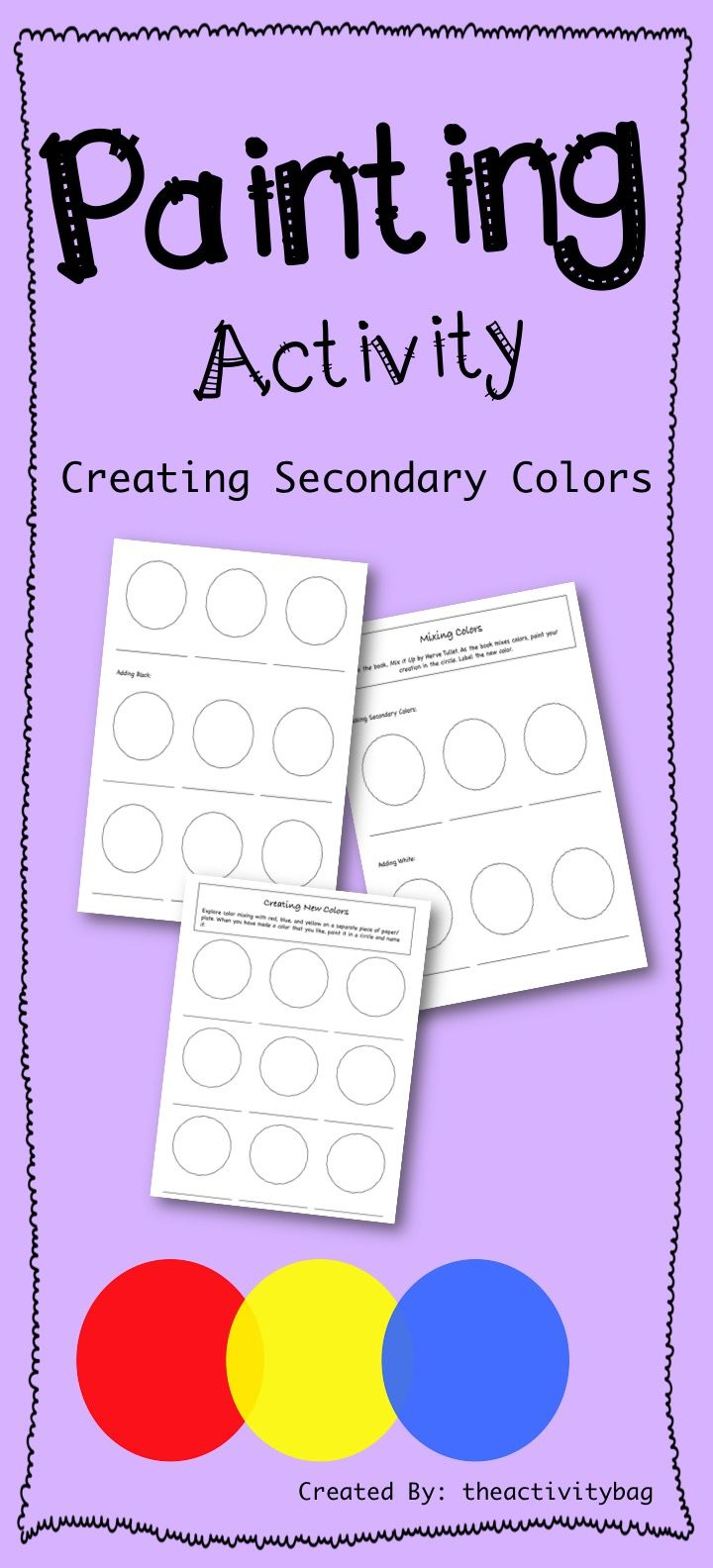 """This activity is perfect for children grades kindergarten through third grade. Follow the steps to make secondary colors and fill in the paint sheet.   Students love to see how the colors mix together and create new, unique, colors. (I included a """"Make Your Own"""" sheet)."""
