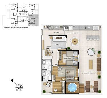 Toda a conveniência e segurança de um apartamento com clima de casa: Apto Garden de 118m²  - Start Vila Mascote